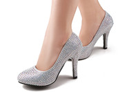 Cheap Brilliant 3 Colors 10cm High Heels Bride Bridesmaid Shoes Crystal Wedding Shoes Party Dinner Prom Shoes Size (34 35 36 37 38 39) A136