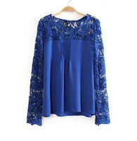 Cheap blusas femininas 2014 Women blouses ladies Lace Top blouse Chiffion long Sleeve de manga comprida blusa renda