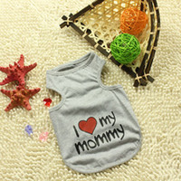 Wholesale New foreign trade pet clothes dog clothes pet clothing dog vest vest color I love myMon and Dad Free Drop Shipping