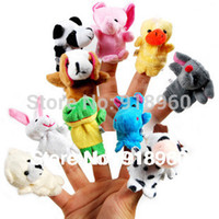 Cheap Free Shipping 15 pcs lot Baby Plush Toy Finger Puppets Tell Story Props(10 animal group)Animal Doll Kids Toys Children Gift TOB