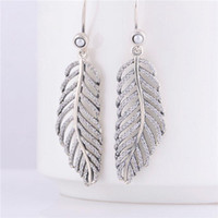 Wholesale Solid Sterling Silver Charm Earrings ERP006 Feather Full Crystals Dangle Pendant Earring Suitable For Pandora Jewelry
