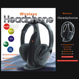 Wholesale Multifunction in HiFi Wireless Headphone Headset Monitor FM Radio MP3 PC TV Audio Phones V451