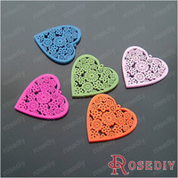 Wholesale For Baby and Children Jewelry Making MM Random color Wood beads Heart with Flower