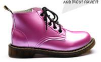 Wholesale Martin Boots Women Shoes Split Cowhide Leather Polish Black Silver Purple Red color New Arrival B8