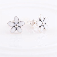 Cheap Wholesale 100% Solid 925 Sterling Silver Charm Earrings ERP103 White Enamel Flower Dangle Earring Suitable For Pandora Jewelry