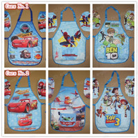 Blue art stories - Boys Childrens Kids Cartoon Cooking Art Painting Smock Apron Set Sleeveless Aprons Oversleeves Toy story Spiderman Cars Planes BEN10