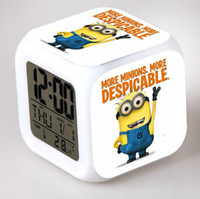 Wholesale Despicable Me LED Colors Change Lighting Digital Alarm Clock Minions Thermometer Christmas Glowing Table Clocks Xmas Gifts DHL Free Ship