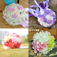 lavender silk - 2015 Beautiful Flowers Wedding Supplies Cheap Popular Romantic Wedding Bouquet Lavender Hand Holding Flower Artificial Adornment Silk