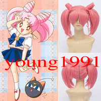 Wholesale Sailor Moon Chibi Usa Small Lady Girls Pink Straight Two Ponytail Harajuku Kawaii Anime Cosplay Costume Party Full Wigs