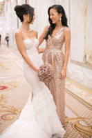 Wholesale 2015 Sequins bridesmaid dress with V neck pleats ruches Sexy A line champagne gold evening wedding party gowns