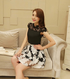 Wholesale 2014 Summer New Fashion For Big Girls Lace Tops Printing Skirt Set Lady s Short Sleeve Hollow Flowers Skirts Outfits Women Clothes Se