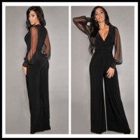 Wholesale Straight Loose Jumpsuit - 2014 New Street Style Fashion Jumpsuits Straight-leg Pants Woman Loose Long Pants Black V Neck Long Sleeve Lace Sheer Jumpsuits