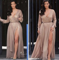 Cheap New Arrival Sexy Side Slit V Neck Celebrity Dress Charming Cap Sleeve Full Sleeve Kim Kardashian evening Dresses with Sashes