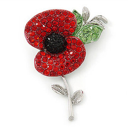 Silver Plated Red Diamante Crystal Rhinestone Red Poppy Pin Flower Brooch with leaf