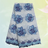 Wholesale High quality Swiss voile lace fabric TC20 Beautiful white blue flower African embroidery cotton lace fabric for dress