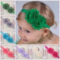 america headbands - Shabby Baby Head Bands Satin And Chiffon Flower colors Baby Headband Girl Hair Accessories Europe and America Baby Christmas gifts