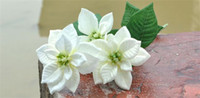 Wholesale Silk Christmas Flower cm quot Length Artificial Poinsettia White Red Heads per Bunch for Wedding Flowers