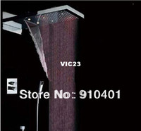 Wholesale And Retail Promotion LED Color Thermostatic Waterfall Rain quot Shower Square Rain Shower Faucet Mixer