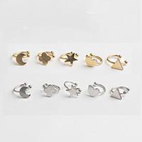 Wholesale Lovely Female Ear Clip Gold Silver Earrings Set Ear Cuff Moon Star Love Lucky Grass Triangle Fashion Jewelry P001