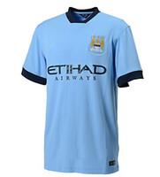 Wholesale 2014 set Men Football Jersey Manchester City Football Club Shirt Shorts Match Soccer Jersey