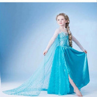 children party dresses - Frozen Elsa Blue Dress Children Christmas Baby Girl Princess long Sleeve party Birthday lace Tutu Sequins Dresses by DHL