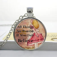 Pendant Necklaces alice halloween - L100 Alice In Wonderland Pendant Alice Charm Necklace Alice In Wonderland Jewelry