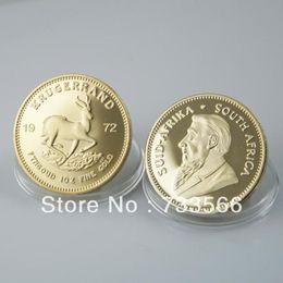 Wholesale 10pcs Set oz fine Gold clad plated SOUTH AFRICA KRUGERRAND metal gold coin