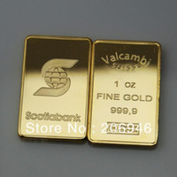 Wholesale Scotiabank oz gold clad plated Bullion Bar Airtite Valcambi suisse gold bar