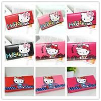 Wholesale Fashion Cute Hello Kitty Pu Leather Zipper Hasp Wallets size cm cm
