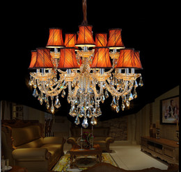 Crystal lights 15 Lights Crystal Chandelier With Lamp Shade traditional chandelier can use LED bulb honorable contemporary crystal lighting