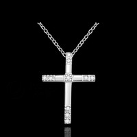 beautiful gemstones - kingslate prety cute women men sterling SILVER fashion rhinestones gemstone Austrian CZ Crystal cross Necklace Beautiful jewelry