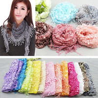 Wholesale Hot Sale Lace Sheer Floral Print Triangle Veil Church Mantilla Scarf Shawl Wrap Tassel