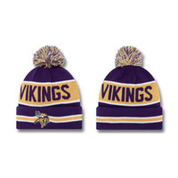 Wholesale Purple Yellow Vikings Beanies Striped Knitted Caps Football Team Beanie Hats Fashion Outdoor Skullcaps Mens Womens Beanie Hats Cheap Beanies