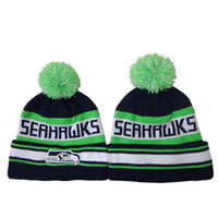 Wholesale Knitted Caps of Seahawks Black Green Football Beanies New Design Team Hats Cool Outdoor Caps Mens Womens Skull Cap Newborn Beanies with Pom