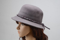 Wholesale Women Winter Bow Bowler Top Hats Wool Wedding Church Dress Hats