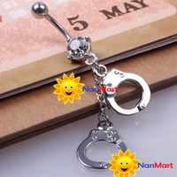 Wholesale New Handcuffs Crystal Style Navel Belly Button Barbell Rings Body Piercing Gift