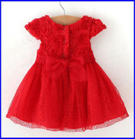 Cheap New 2014 Baby Girls Red Princess Dress Children Christmas Dress Toddler Rose Floral Tulle Party Dress Cute Infant Birthday Dresses Melee