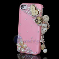 Cheap New Luxury Rhinestone Diamond 3D Heart Pendant Pink Glossy Back Case Cover For iPhone 4 4G 4S Flower Free Shipping