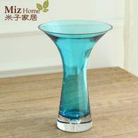 Wholesale Yonago home modern minimalist living room table vase clear glass ornaments trumpet vase four color options