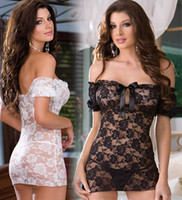 exotic - 2014 New Lace Flowers Sexy Lingerie Costumes Babydolls Women Sex Off Shoulder Exotic Sleepwear For World