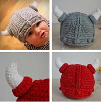 Boy Summer Crochet Hats Retail Baby crochet hats baby boys Viking helmet pattern caps children handmade beanie photography props free shipping
