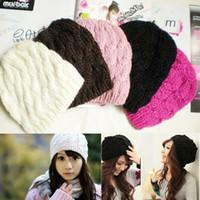 Prezzi Wool hat-Inverno Womens Beanie cappelli lavorati a maglia Knit Caps Crochet misto lana cappello caldo Ragazze Caps 14 colori