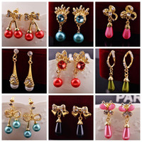 animals crystall - Factory Directly colorful crystall pearl chandelier drop earring for gilrs and ladies earring