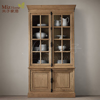 Wholesale Yonago American country home furniture cupboards American white oak wood bookcase cabinet George showcase