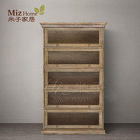 Wholesale Yonago American country home white oak wood bookcase shelving five multi shelf cabinets
