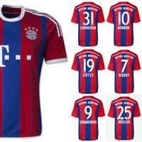 Wholesale FC Bayern Munich Jerseys Home Red Blue RIBERY ROBBEN LEWANDOWSKI GOTZE MULLER Bayern Soccer Jerseys Kits Top AAA