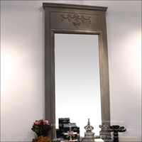 Round wood mirror - American retro style porch furniture grade wood to do the old wall carved decorative mirror