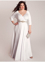 3 4 sleeve plus size wedding dresses - 2014 New Arrival Custom Plus Size Wedding Dresses V Neck Beaded Sash Bridal Gown IGIG Bellerose Wedding Gown Women s Dress Long Sleeves