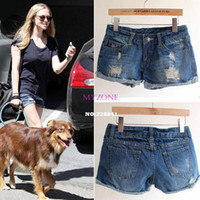 Cheap 2014 New Hot Sale Fashion Retro Women's Ladies Ripped Hole Jeans Shorts Denim Jeans casual Cuffs Shorts b4 SV003062