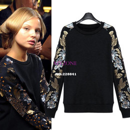 Wholesale New arrival Spring Women s Sweatshirts Fleece Pullover T shirt Loose Sequins Round Neck Sweater hoody Women SV10 SV006070